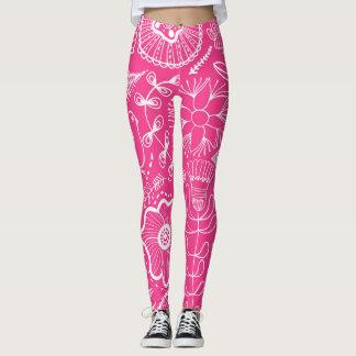 Pink Partridge and Flower Pattern Leggings