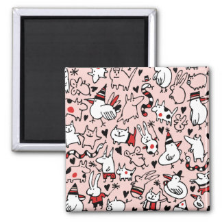 Pink Party Animals Magnet