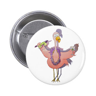 Pink Party Bird Flamingo Drink Beads Boa 2 Inch Round Button