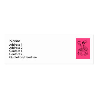 Pink Party Hostess Double-Sided Mini Business Cards (Pack Of 20)