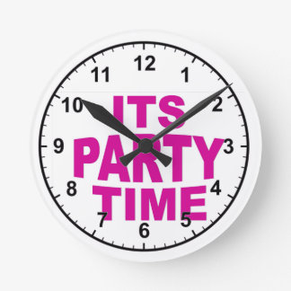 Pink Party Time Round Clock