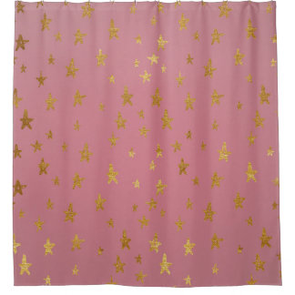 Pink Passion Golden Stars Shower Curtain