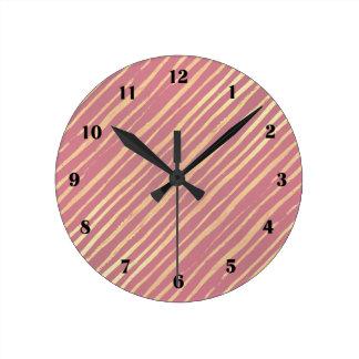 Pink Passion Golden Stripes Clock