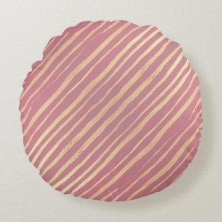 Pink Passion Golden Stripes Round Throw Pillow