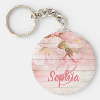 Pink pastel cherry blossoms with monogram keychain
