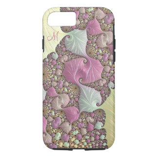 Pink Pastel Cream Fractal Monogram iPhone Case