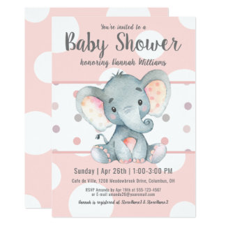 Pink Pastel Dots Cute Elephant Baby Shower Card