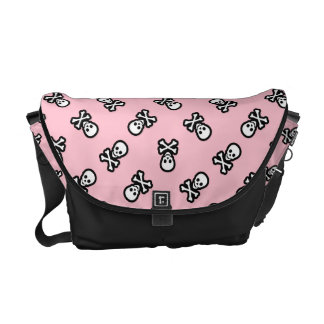 Pink Pastel Goth Jolly Roger Pirate Courier Bag