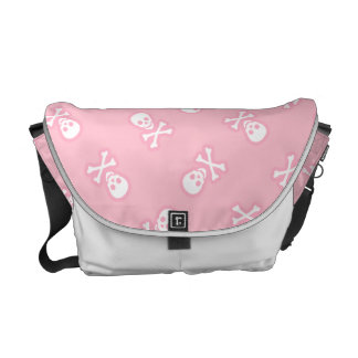 Pink Pastel Goth Jolly Roger Pirate Messenger Bag