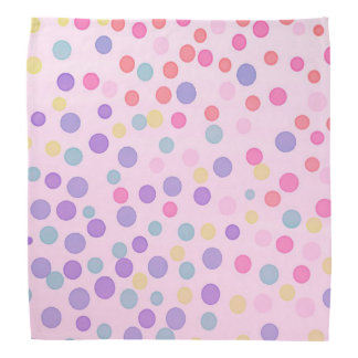 Pink pastel multicolor dots head kerchief