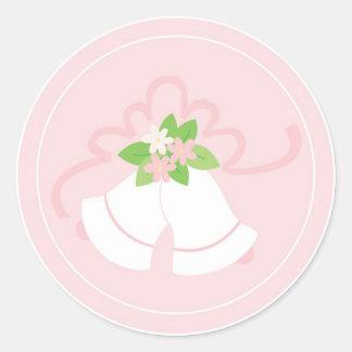 Pink pastel wedding bells classic round sticker