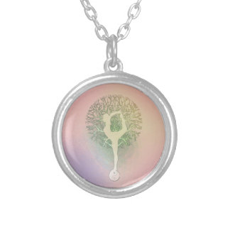 Pink Pastel Yoga Tree Silver Plated Necklace