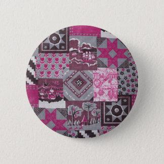 Pink Patchwork 2 Inch Round Button