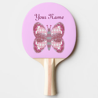 Pink Patchwork Butterfly Ping Pong Paddle