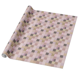 """Pink patchwork Linen Wrapping Paper, 30"""" x 30' Wrapping Paper"""