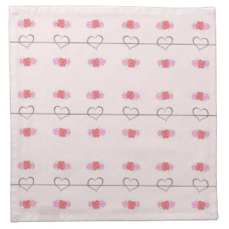 Pink Pattern Hearts and Flowers Printed Napkins