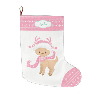 Pink Pattern Santa Deer with Scarf Large Christmas Stocking