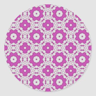 Pink pattern tile classic round sticker