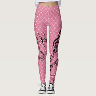 Pink Pattern With Musical Notes Leggings