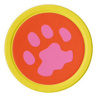 Pink Paw Clay Poker Chips, Yellow Solid Edge Poker Chips