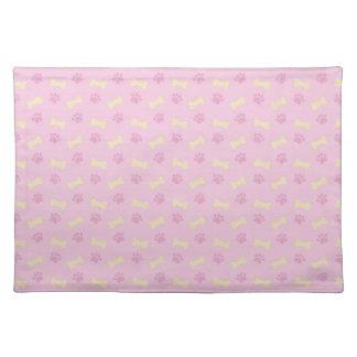 Pink Paw Print Bone Pattern Placemat