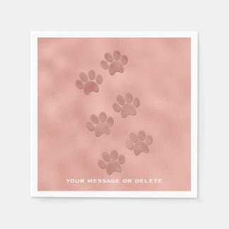 Pink Paw Prints for Animal Lovers Rose Gold Paper Napkin