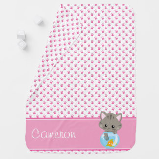 Pink Paw Prints with Grey Cat | Personalized Baby Blanket
