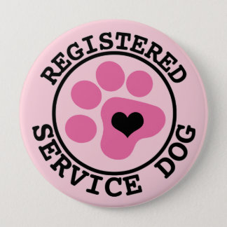 Pink Paw Registered Service Dog 4 Inch Round Button