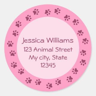 Pink pawprint circle address label, darker border classic round sticker