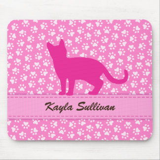 Pink pawprint pattern with silhouette cat mousepad