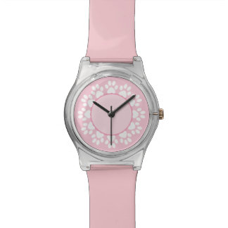 Pink pawprint pet lover watch