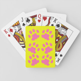 Pink Paws Yellow Playing Cards
