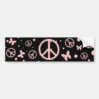 Pink Peace and Butterflies Bumper Sticker
