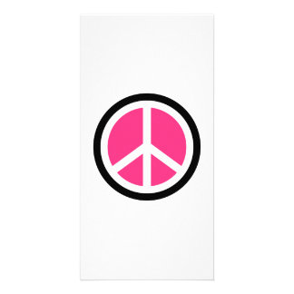 Pink peace logo customized photo card