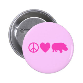 Pink Peace Love and Hippos 2 Inch Round Button