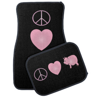 Pink Peace, Love, Pigs Car Mat