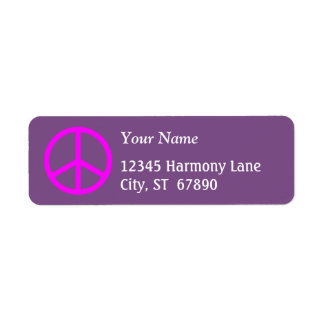 Pink Peace Sign on Purple Custom Address Label