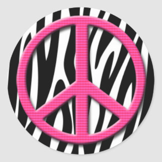 Pink Peace Sign on Zebra Stripes Pattern Classic Round Sticker