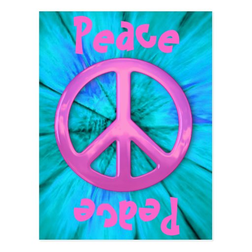 Pink Peace Sign Over Blue Abstract Explosion Post Cards