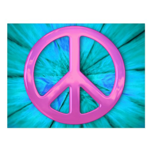 Pink Peace Sign Over Blue Abstract Explosion Post Card