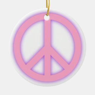 Pink Peace Sign Round Ceramic Ornament