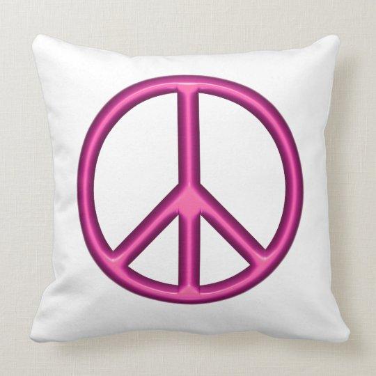 Pink Peace Sign Throw Pillow