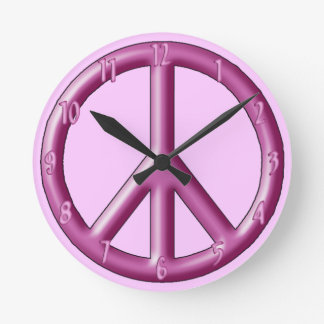 Pink peace sign wall clock. round clock