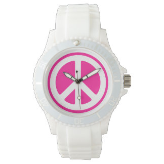 Pink Peace Sign Watch