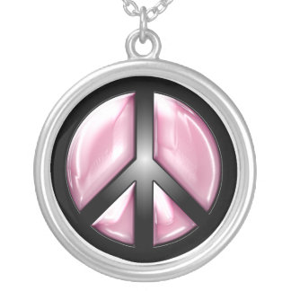 Pink Peace Silver Plated Necklace