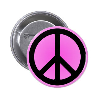 Pink Peace Symbol Button