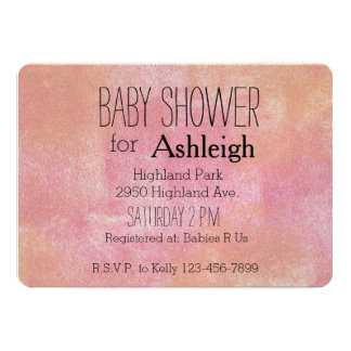 Pink Peach Abstract baby shower 5x7 Paper Invitation Card