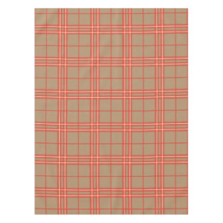 Pink, Peach and Brown Plaid Tablecloth