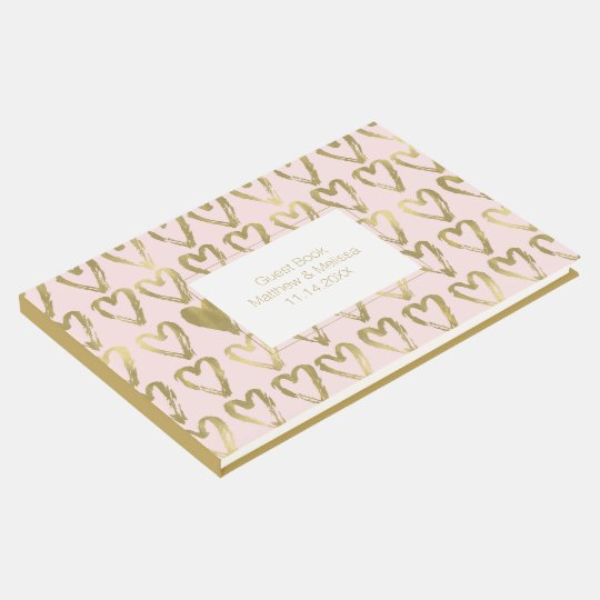 Pink Peach and Gold Hearts Wedding Guest Book