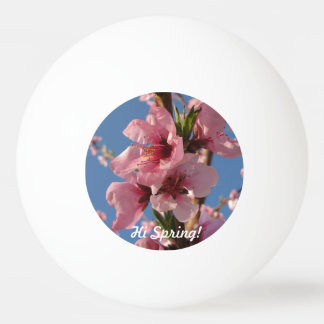 Pink peach blooms with sunny blue sky ping pong ball